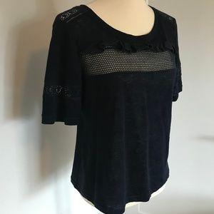 rebecca taylor • short sleeve linen lace top •